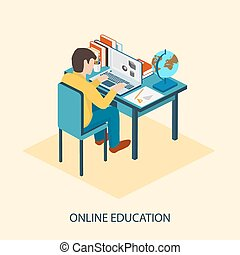 Online education. Students are taught online. - Online...