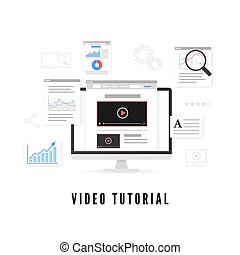 Online education. Tutorial and study course online concept. Vector illustration
