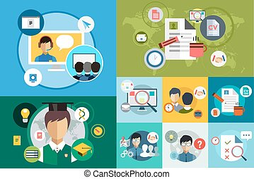 Online education vector icons. Webinar and school. Office life, work. University courses. Students, people silhouette and online education objects. Man silhouette. Abstract people. Teambuilding. Group of people. School