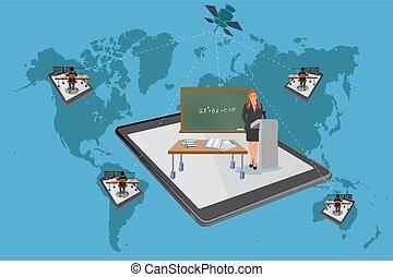 Online education, vector illustrati