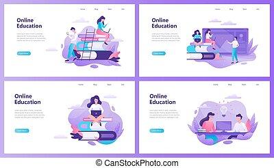 Online education web banner set. Idea of distance