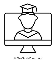 Online educationa thin line icon. Student on monitor vector illustration isolated on white. E-learning outline style design, designed for web and app. Eps 10.