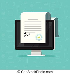 Online electronic documents on computer display vector illustration, flat paper document and signature on desktop pc screen, concept of digital or internet office, on-line deal, web paperwork