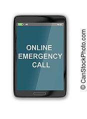 online, emergência, chamada, conceito