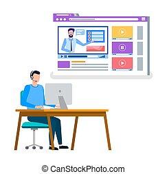online, estudo, homem, cursos, internet, escritório, trabalhando