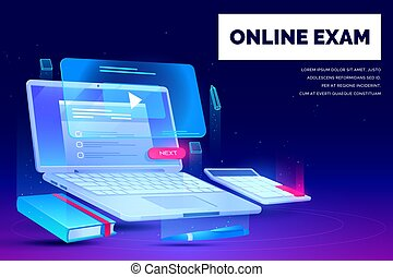 Online exam, distant education landing page, laptop with task checklist and video application for webinars and school stationery neon glowing futuristic background. Cartoon vector illustration, banner
