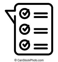 Online exam icon, outline style