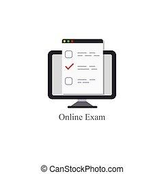 online exam logo icon internet education concept  web test