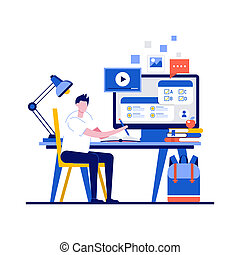 Online exam, online survey, testing, e-learning, online courses concepts with character. Student taking distance test. Modern flat style for landing page, mobile app, infographics, hero images
