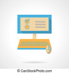 Online examination flat color design vector icon