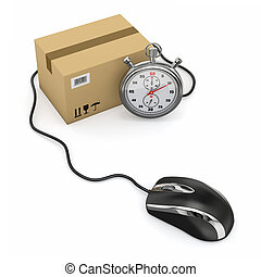 Online express delivery. Mouse, stopwatch and package. 3d