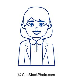 online female doctor medical staff character blue line style icon