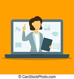 Online female tecaher pointing finger vector illustration