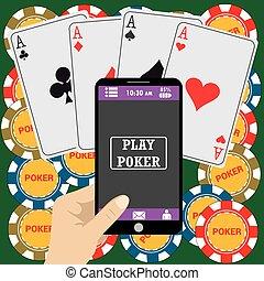online, feuerhaken, app, auf, tablette, berührungsbildschirm