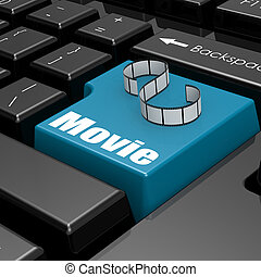Online Film on blue keyboard button