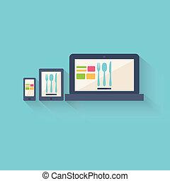 Online food blog or restaurant website displayed on a...