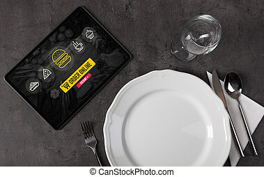 Computer on a table order food online  Ecommerce concept
