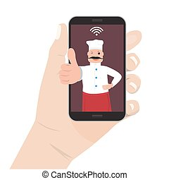 Online food order theme. Vector Chef cook man and phone
