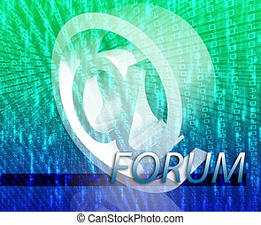 Internet communication illustration for blogs chat newsgroup forums bulletin boards