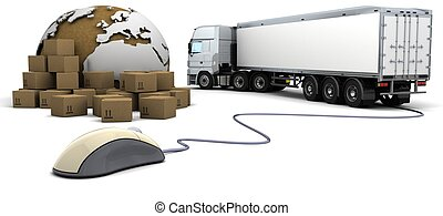 online freight order tracking - 3d render of online freight...