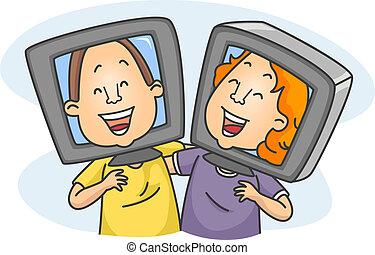Online Friends - Illustration of Online Friends Having a...