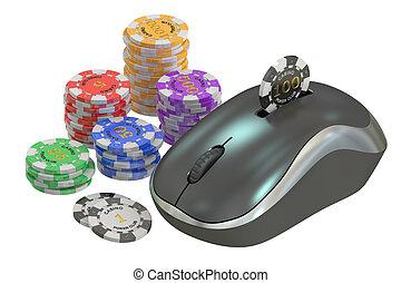 Online gambling concept, 3D rendering