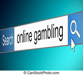 Illustration depicting a screen shot of an internet search bar containing a gambling concept.