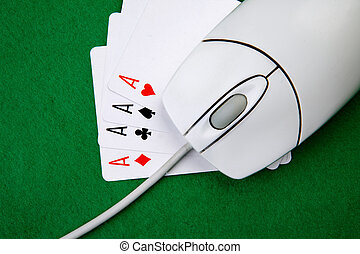 Online Games - An online gaming concept with computer mouse,...