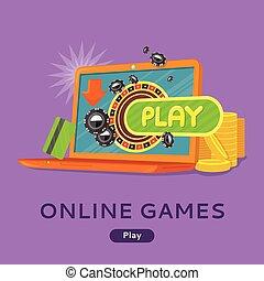 Strategy online games concept banner header  Gamer at