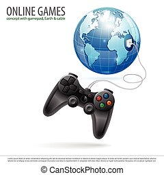 Online Games Concept with Gamepad and Earth in Realistic 3D...
