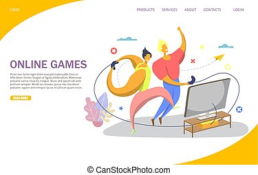 Online games vector website landing page design template
