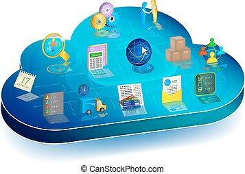 online, geschaeftswelt, prozess, verwalten, in, wolke, application., begriff