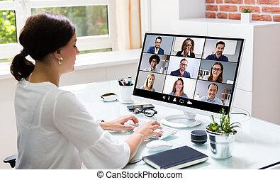 online, hívás, tanácskozás, video