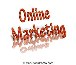 online, handel, 3d, słowo