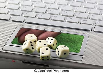 online, hazárdjáték, vagy, szerencsejáték, fogalom