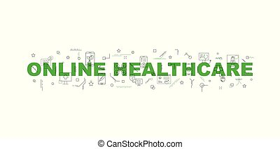 Online healthcare and medicine vector banner. Word with line icon.