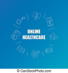 Online healthcare background from line icon. Linear vector pattern.