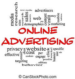 online hirdetés, szó, felhő, fogalom, alatt, piros, &, fekete