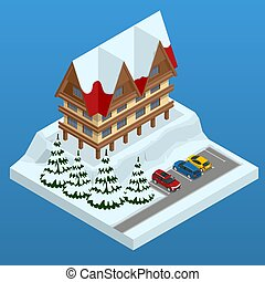 Online hotel booking. Mountain ski resort with snow in winter. Winter holiday web banner design. Vector isometric illustration.