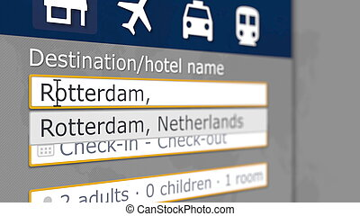Online hotel search in Rotterdam on some booking site. Travel to Netherlands conceptual 3D rendering