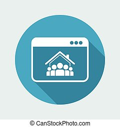 Online housing - Group of people - Vector flat icon
