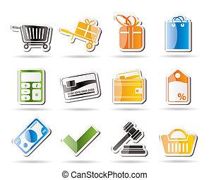 online, iconen, winkel