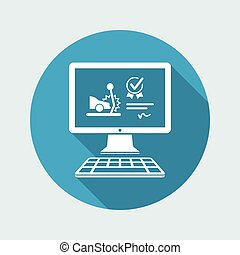 Online insurance assistance for car crash - Vector flat icon
