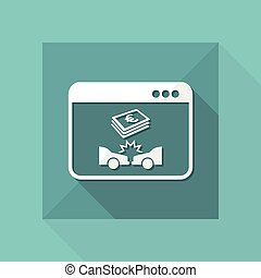 Online insurance payout for car crash - Vector flat icon