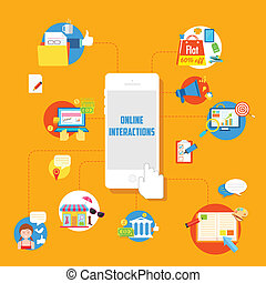 Online Interactions - illustration of flat style online...