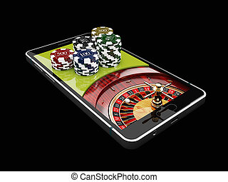 Online Internet casino app, roulette with chips on the phone, gambling casino games. 3d illustration