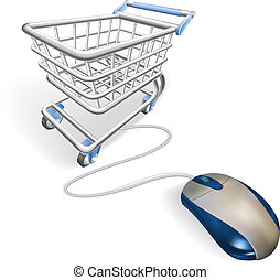 Online internet shopping concept - A mouse connected to a...