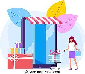Online internet shopping concept. Vector flat cartoon design graphic illustration