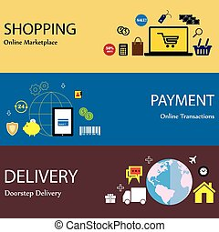 online internet shopping payment & delivery concept flat...