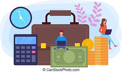 Online internet web bookkeeping concept. Vector flat graphic...